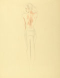 Pin-up and Glamour Art, ALBERTO VARGAS (American, 1896-1982). Backless Evening Gown,preliminary illustration study, c. 1941. Pencil and waterco...