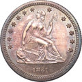 Proof Seated Quarters, 1861 Seated Quarter PR62 NGC....