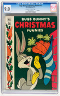 Golden Age (1938-1955):Cartoon Character, Dell Giant Comics - Bugs Bunny Christmas Funnies #3 (Dell, 1952)CGC VF/NM 9.0 Off-white to white pages....