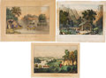 Antiques:Posters & Prints, Lot of Three Hand-Colored Prints.... (Total: 3 Items)