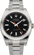Timepieces:Wristwatch, Rolex New Ref. 116400 Stainless Steel Milgauss With Box & Papers. ...