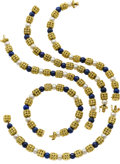 Estate Jewelry:Pearls, Cultured Pearl, Lapis Lazuli, Gold Convertible Necklace. ...