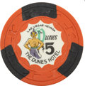 Miscellaneous:Gaming Chips, Dunes $5 Las Vegas Casino Chip, Third Issue, R-7, Circa Late 1950s....