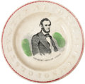 """Political:3D & Other Display (pre-1896), Abraham Lincoln: Classic """"ABC"""" Ceramic Saucer...."""
