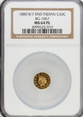 California Fractional Gold, 1880/70 50C Indian Round 50 Cents, BG-1067, Low R.4, MS64 ProoflikeNGC....