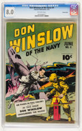 Golden Age (1938-1955):War, Don Winslow #4 Crowley Copy pedigree (Fawcett, 1943) CGC VF 8.0Off-white pages. ...