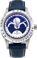Timepieces:Wristwatch, Perrelet Stainless Diamond & Sapphire Limited Edition AutomaticWristwatch With Moon Phase & Calendar, No. 08/10. ...