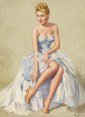 Pin-up and Glamour Art, PEARL FRUSH (American, 20th Century). I Just Got Caught On aLimb, calendar illustration, 1953. Watercolor on board. 17....