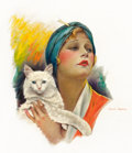 Pin-up and Glamour Art, CHARLES GATES SHELDON (American, 1889-1960). Girl with Cat.Oil on board. 24 x 18.5 in.. Signed center right. ...