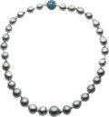 Estate Jewelry:Necklaces, Black Baroque South Sea Cultured Pearl, Blue Topaz, Gold Necklace,Laura Munder. ...