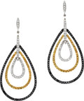 Estate Jewelry:Earrings, Black & White Diamond, Yellow Sapphire, White Gold Earrings.... (Total: 2 Items)