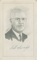 "Baseball Collectibles:Others, William Harridge Signed Original Artwork, With Signed Letter ""RaittCollection""...."