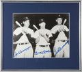 Baseball Collectibles:Photos, Mickey Mantle, Ted Williams and Joe DiMaggio Multi Signed Photograph....