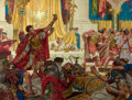 Paintings, DEAN CORNWELL (American, 1892-1960). Pontius Pilate's Banquet, The Robe, book illustration, 1947. Oil on board. 28 x 29 ...
