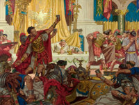 DEAN CORNWELL (American, 1892-1960) Pontius Pilate's Banquet, The Robe, book illustration, 1947 Oil