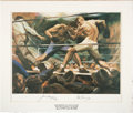 Boxing Collectibles:Autographs, Jack Dempsey and Gene Tunney Multi Signed Lithograph....