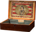 Political:3D & Other Display (pre-1896), William Henry Harrison: Rare Wooden Chest with Colorful Reverse on Glass, Flag Format Portrait Set into Lid. ...