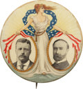 """Political:Pinback Buttons (1896-present), Roosevelt & Fairbanks: The Largest 2 1/8"""" Size of the Classic """"Miss Liberty"""" Jugate...."""
