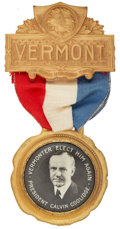 """Political:Ribbons & Badges, Calvin Coolidge: Pristine Example of the Classic """"Vermonter"""" Badge...."""
