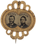 Political:Ferrotypes / Photo Badges (pre-1896), Grant & Colfax: Beautiful Framed Jugate Ferrotype....