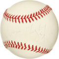 "Autographs:Baseballs, Wayne Gretzky Single Signed Baseball. Wayne ""The Great One"" Gretzkypenned in signature to this OAL (Brown) baseball. His s..."