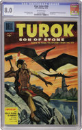 Golden Age (1938-1955):Miscellaneous, Four Color #656 Turok, Son of Stone (Dell, 1955) CGC VF 8.0 Off-white pages....
