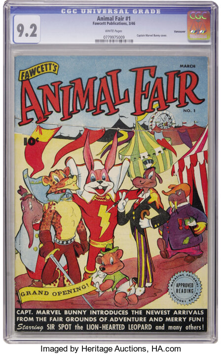 Animal Fair #1 Vancouver pedigree (Fawcett, 1946) CGC NM- 9.2 White pages....