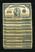 Canadian Currency: , DC-15b 25¢ 1870 Eight Examples.. . ... (Total: 10 notes)