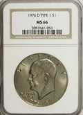 Eisenhower Dollars: , 1976-D $1 Type One MS66 NGC. NGC Census: (173/6). PCGS Population (191/2). Mintage: 21,048,710. Numismedia Wsl. Price for N...