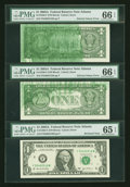 Error Notes:Ink Smears, Fr. 1930-F $1 2003A Federal Reserve Notes. Three Consecutive Examples. . ... (Total: 3 notes)