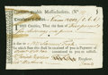 Colonial Notes:Massachusetts, Massachusetts Treasury Tax Collector's Certificate. November 1782. About New....