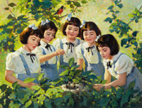 ANDREW LOOMIS (American, 1892-1959) The Dionne Quintuplets, Brown and Bigelow calendar illustration, c