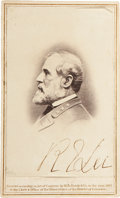 Autographs:Military Figures, Robert E. Lee: Signed Carte de Visite....