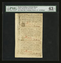 Colonial Notes:North Carolina, North Carolina December 1771 Sheet of Three PMG Choice Uncirculated 63 EPQ....