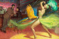 Mainstream Illustration, TOM LOVELL (American, 1909-1997). Parrot Dance. Oil oncanvas. 24 x 36 in.. Signed lower left. ...