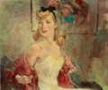 Mainstream Illustration, JOHN LA GATTA (American, 1894-1976). Woman in a Slip. Oil oncanvas. 22 x 26 in.. Signed upper left. ...