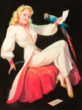 Pin-up and Glamour Art, BRADSHAW CRANDELL (American, 1896-1966). Girl with Parrot.Pastel on board. 39.5 x 29.5 in.. Signed lower left. ...