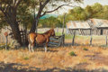 Western:20th Century, MARTIN GRELLE (American, b. 1954). Thoroughbred, 1978. Watercolor on paper. 14 x 21 inches (35.6 x 53.3 cm). Signed and ...