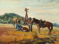 Western:20th Century, WAYNE JUSTUS (American, b. 1952). Cowboys at Work, 1975-1976. Oil on canvas. 18 x 24 inches (45.7 x 61.0 cm). Signed ver...