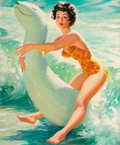 Pin-up and Glamour Art, WILLIAM MEDCALF (American, 20th Century). Riding a WaterToy. Oil on board. 35.5 x 30 in.. Signed lower right. ...