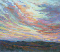 MICHAEL ETIE (American, 1948) West Texas Twilight Pastel on board 24 x 28 inches (61.0 x 71.1 cm)