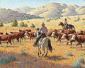 Paintings, ARTHUR SARON SARNOFF (American, 1912-2000). Hereford Roundup. Oil on canvas. 24 x 30 inches (61.0 x 76.2 cm). Signed low...