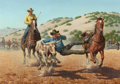 Western:20th Century, ARTHUR SARON SARNOFF (American, 1912-2000). Wrangling the Steer. Oil on board. 24 x 34 inches (61.0 x 86.4 cm). Signed l...