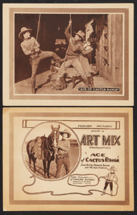 """Ace of Cactus Range (Feature Pictures, 1924). Title Lobby Card and Lobby Card (11"""" X 14""""). Western. ... (Total..."""