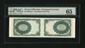 Fractional Currency:Fifth Issue, Milton 5E10R.2a 10¢ Fifth Issue Uncut Horizontal Back Specimen PairPMG Gem Uncirculated 65.. ...