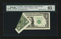 Error Notes:Foldovers, Fr. 1915-G $1 1988A Federal Reserve Note. PMG Gem Uncirculated 65EPQ.. ...