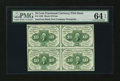 Fractional Currency:First Issue, Fr. 1242 10¢ First Issue Block of Four PMG Choice Uncirculated 64EPQ....