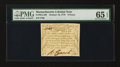 Colonial Notes:Massachusetts, Massachusetts October 16, 1778 9d PMG Gem Uncirculated 65 EPQ....
