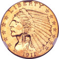 Indian Quarter Eagles, 1911-D $2 1/2 MS64 NGC. CAC....