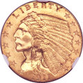 Indian Quarter Eagles, 1911-D $2 1/2 MS63 NGC. CAC....